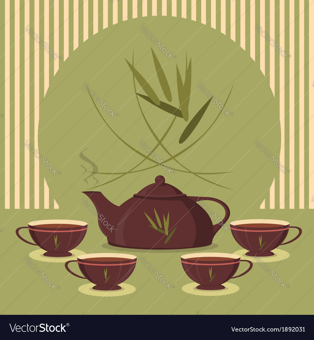 Vintage tea set on the background of the strips vector | Price: 1 Credit (USD $1)