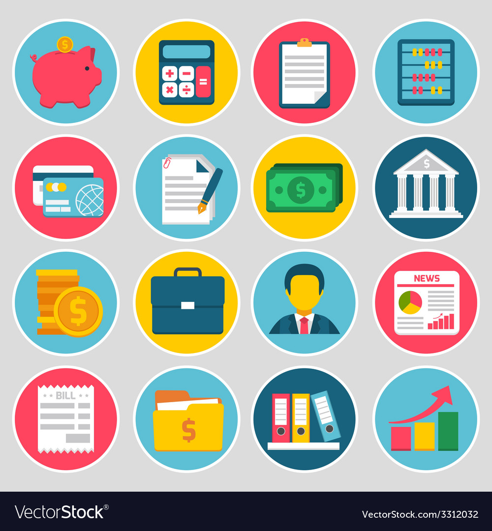 Accounting icons set vector | Price: 1 Credit (USD $1)
