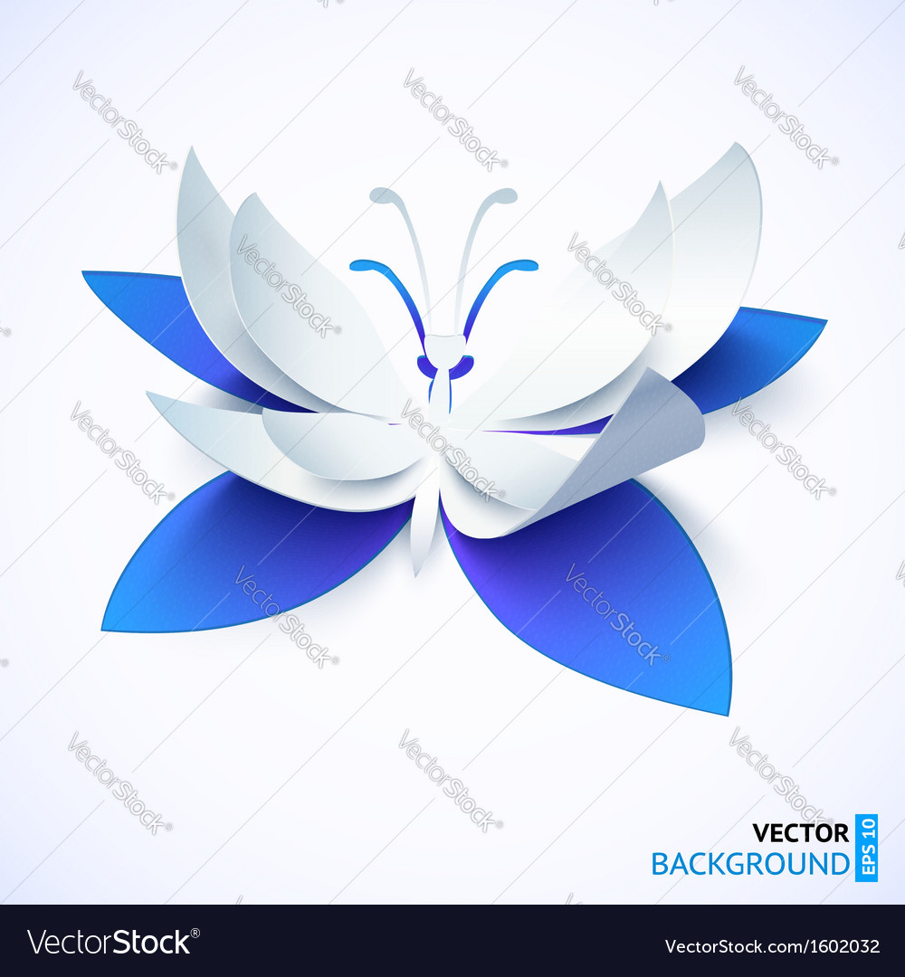 Blue paper cutout butterfly vector | Price: 1 Credit (USD $1)