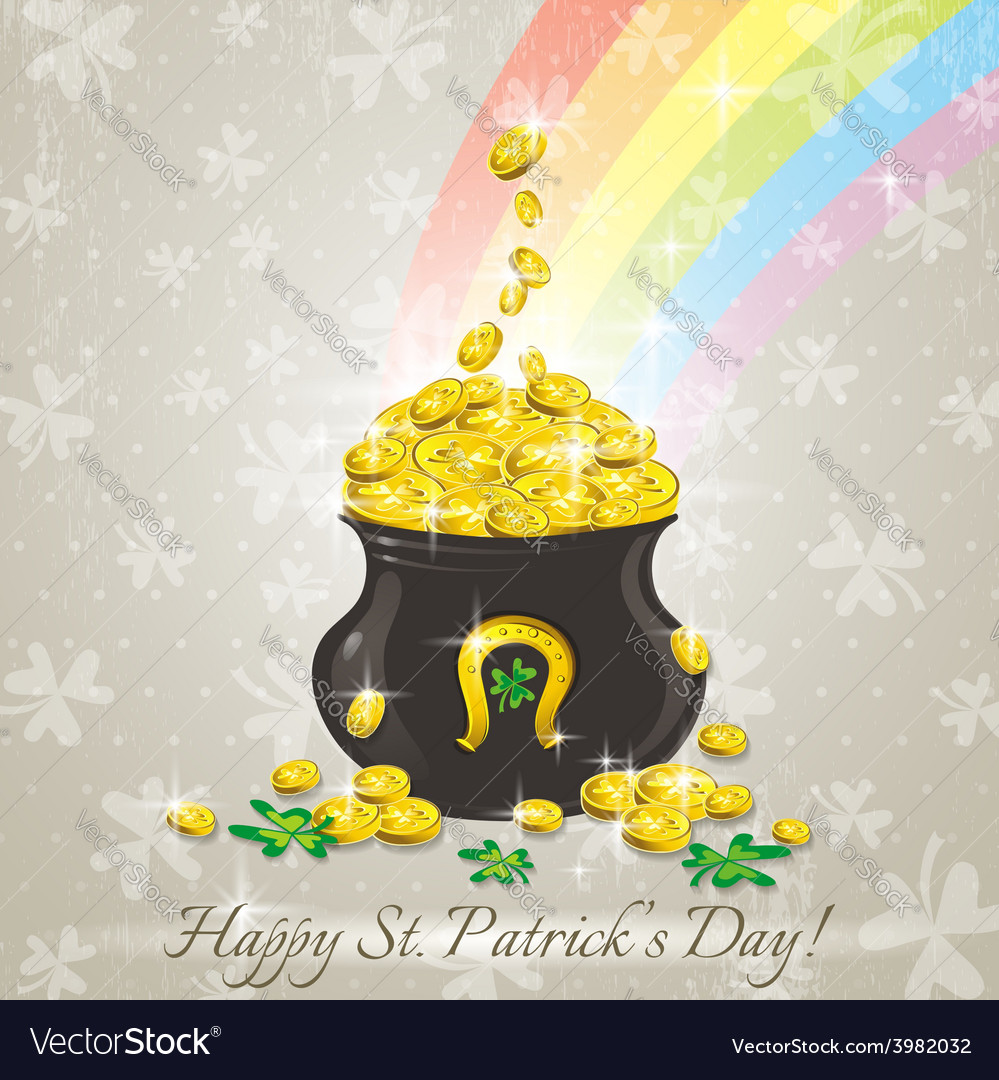 Card for st patricks day and golden pot vector   Price: 1 Credit (USD $1)