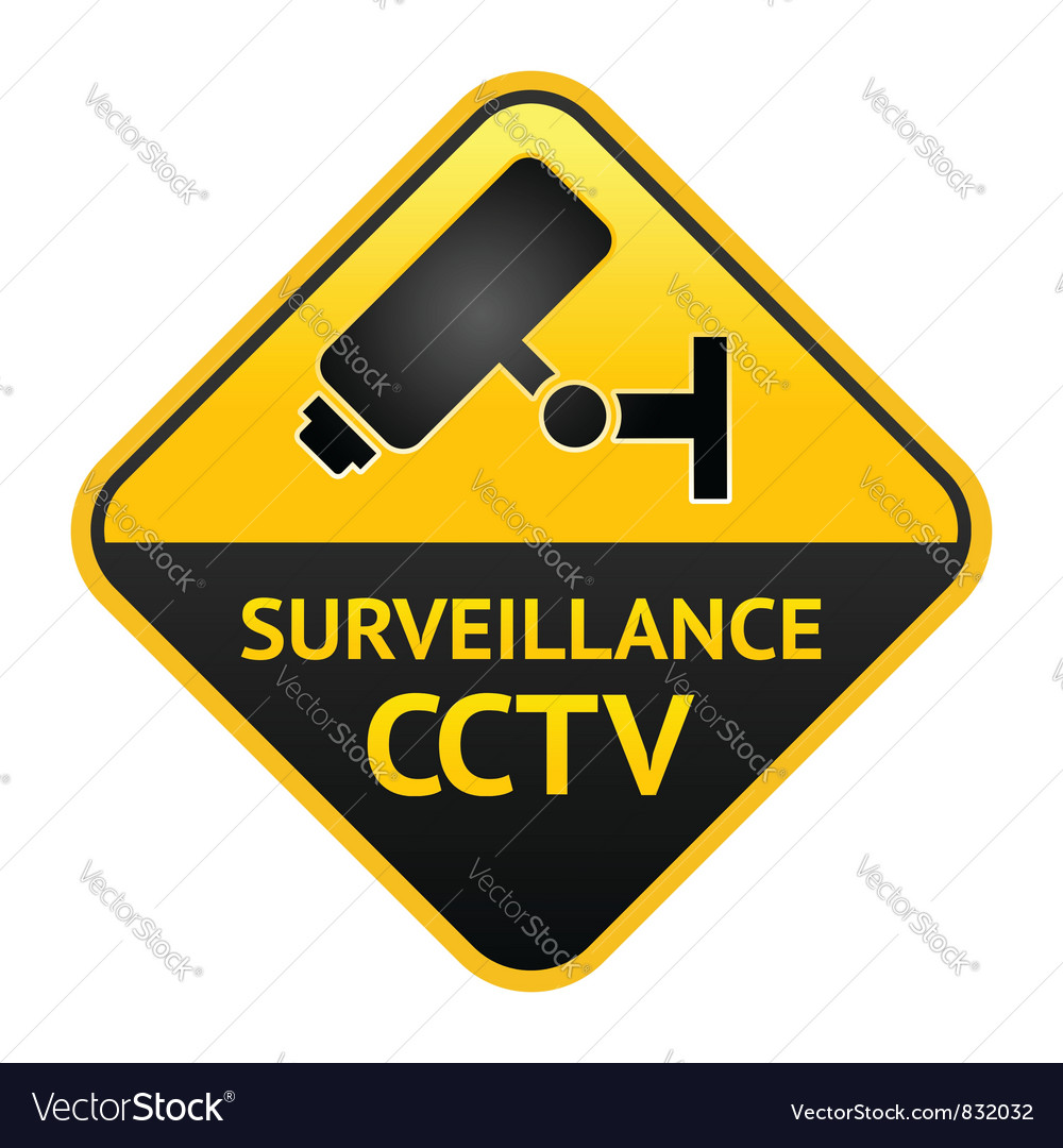 Cctv sign video surveillance label vector | Price: 1 Credit (USD $1)