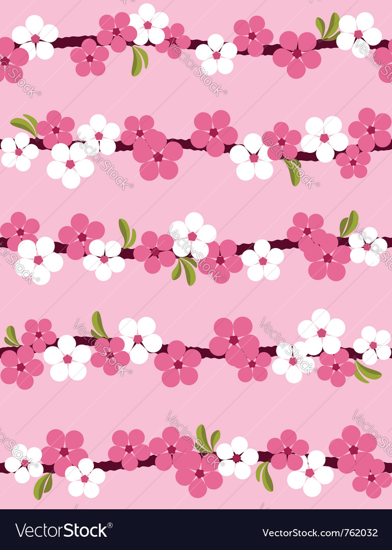 Cherry blossom seamless pattern vector | Price: 1 Credit (USD $1)