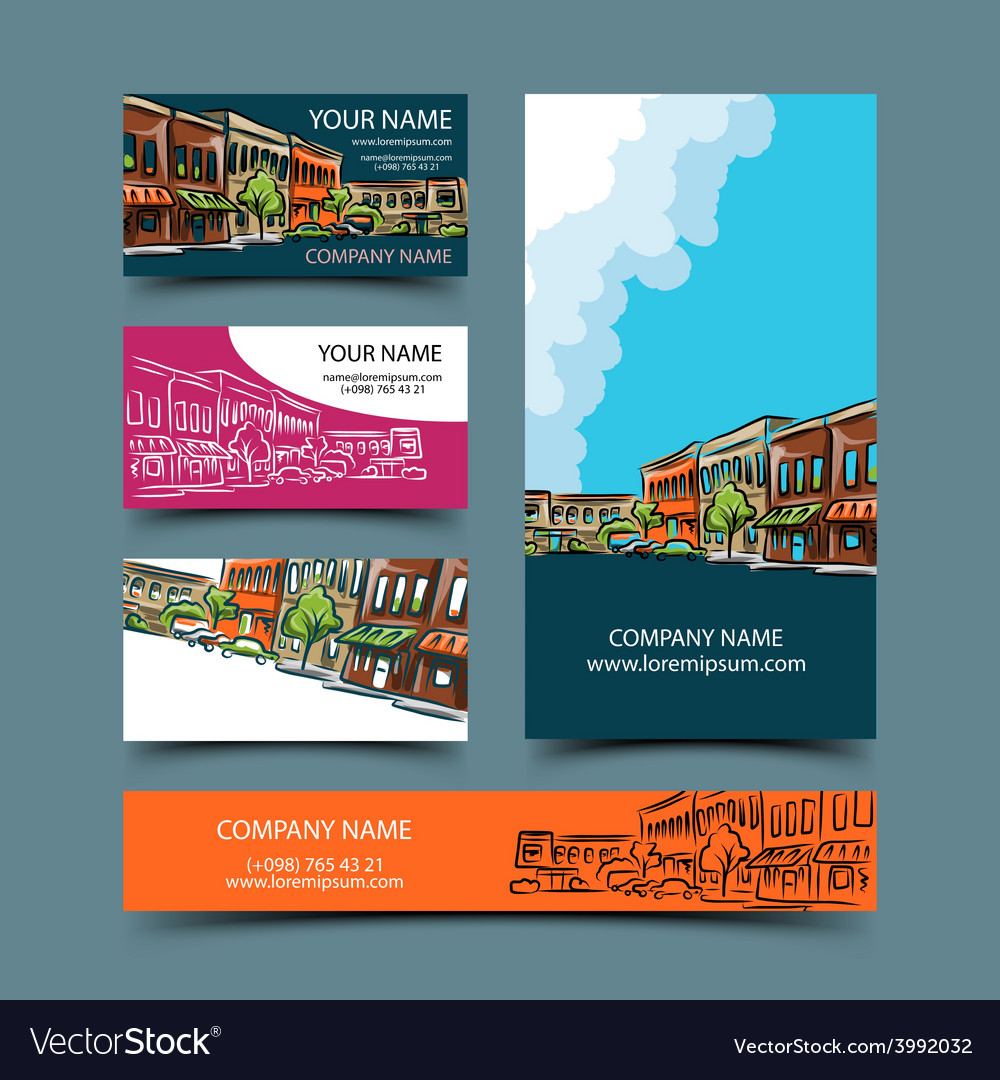 Cityscape card set vector | Price: 1 Credit (USD $1)