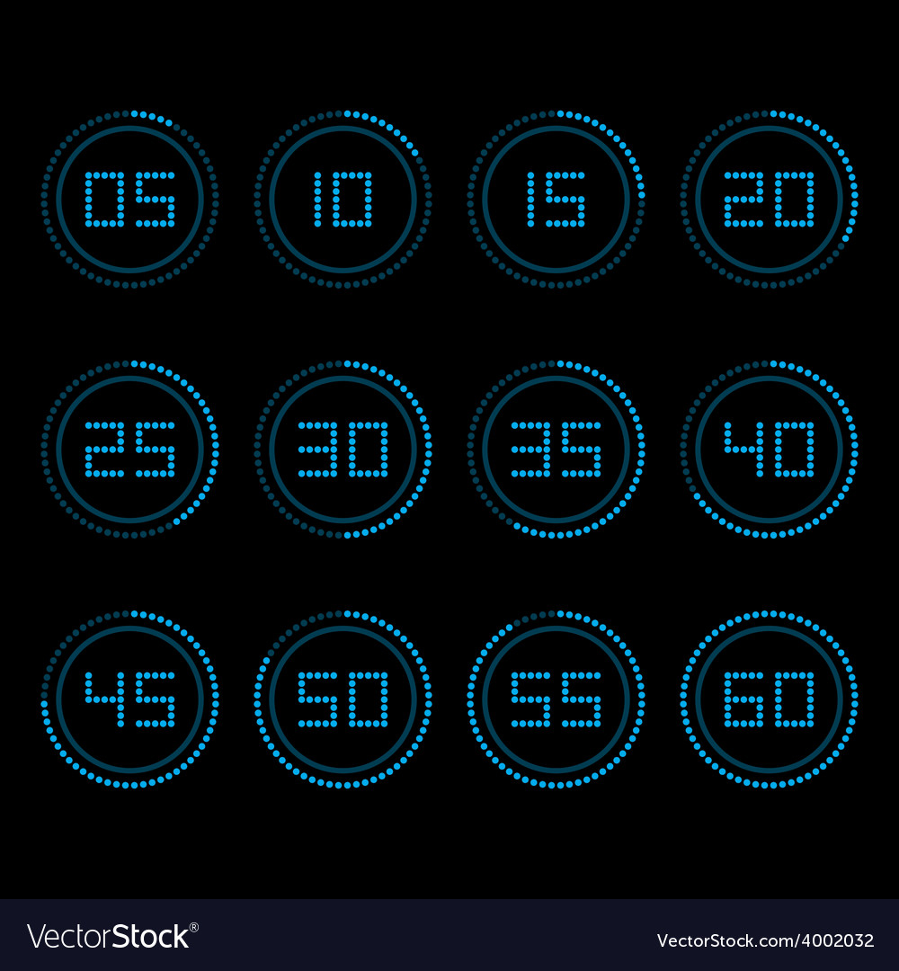 Digital countdown timer with five minutes interval vector | Price: 1 Credit (USD $1)