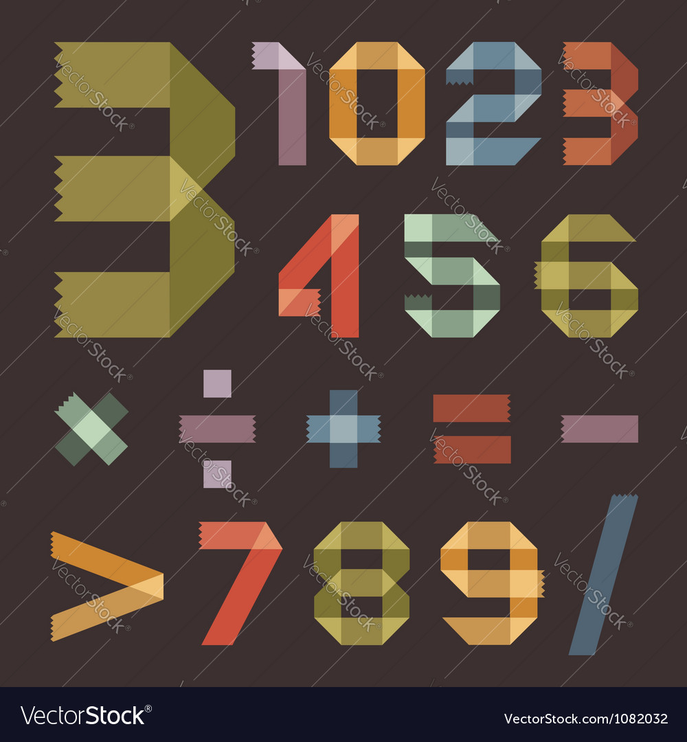Font from colored scotch tape - arabic numerals vector | Price: 1 Credit (USD $1)