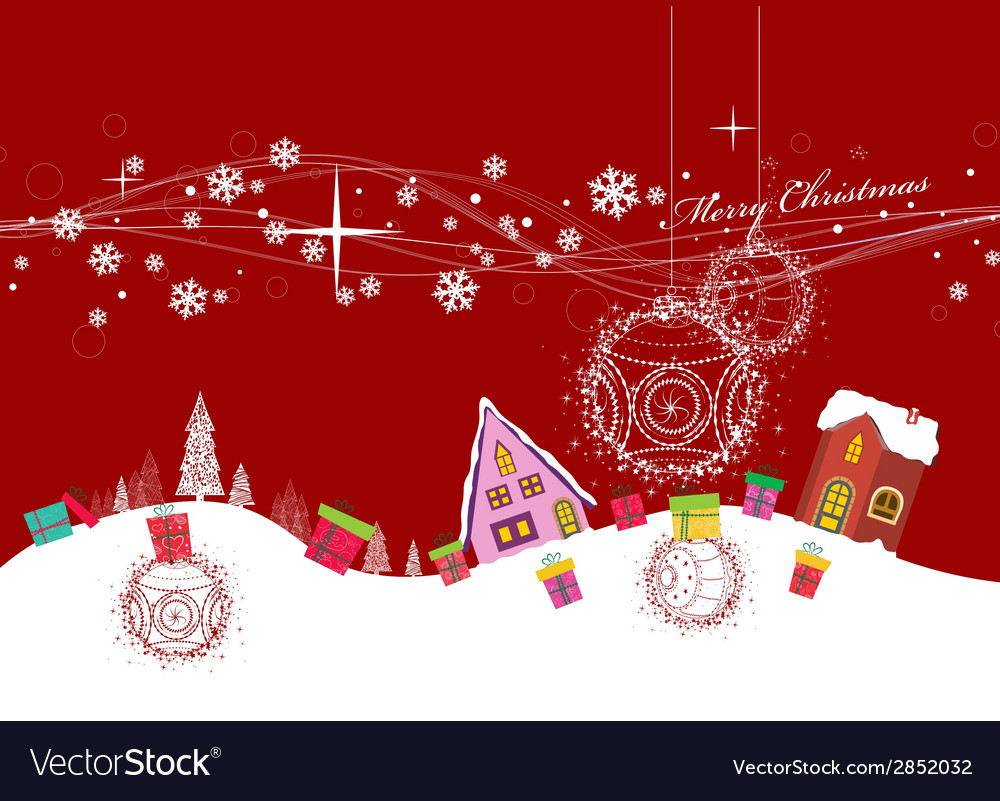 Merry christmas with ball and gift background vector | Price: 1 Credit (USD $1)