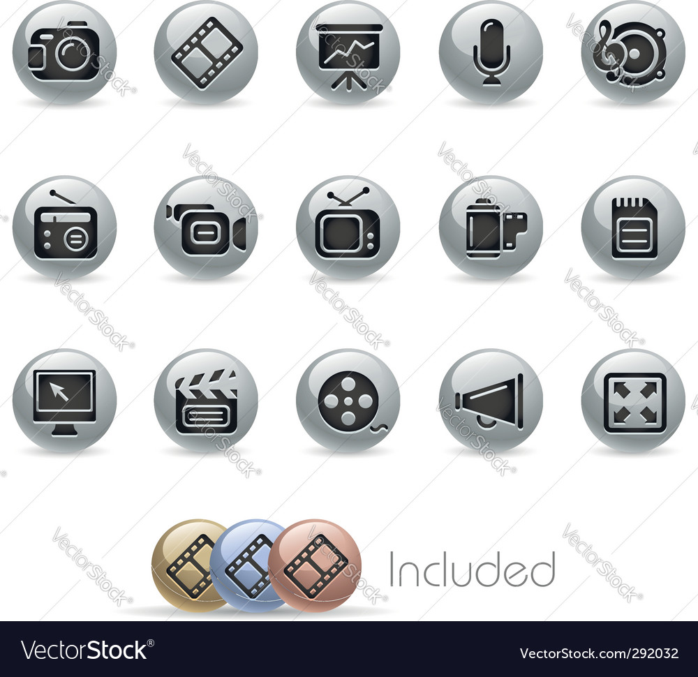 Multimedia icons vector | Price: 3 Credit (USD $3)