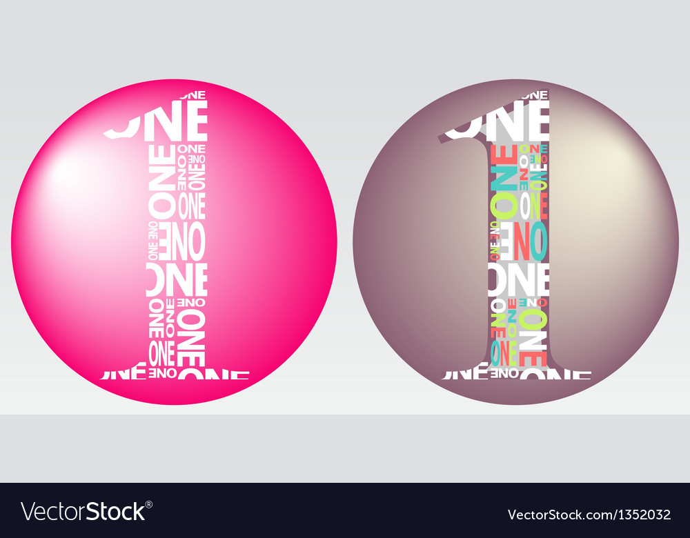 Number one filled with colourful words vector | Price: 1 Credit (USD $1)