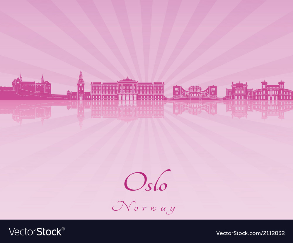 Oslo skyline in purple radiant orchid vector | Price: 1 Credit (USD $1)