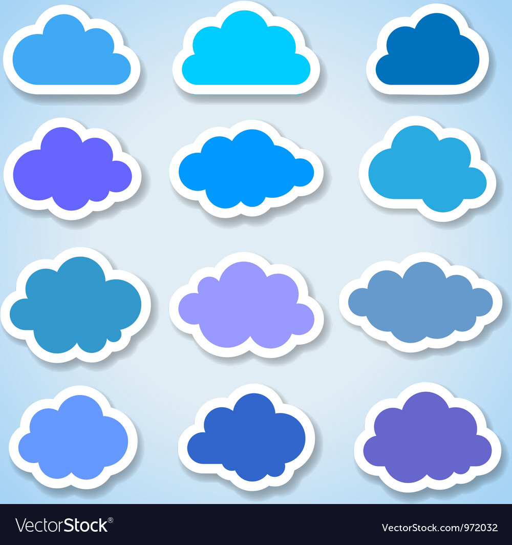 Set of 16 paper colorful clouds vector | Price: 1 Credit (USD $1)