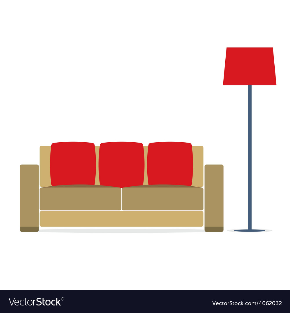 Sofa with modern lamp on white background vector | Price: 1 Credit (USD $1)