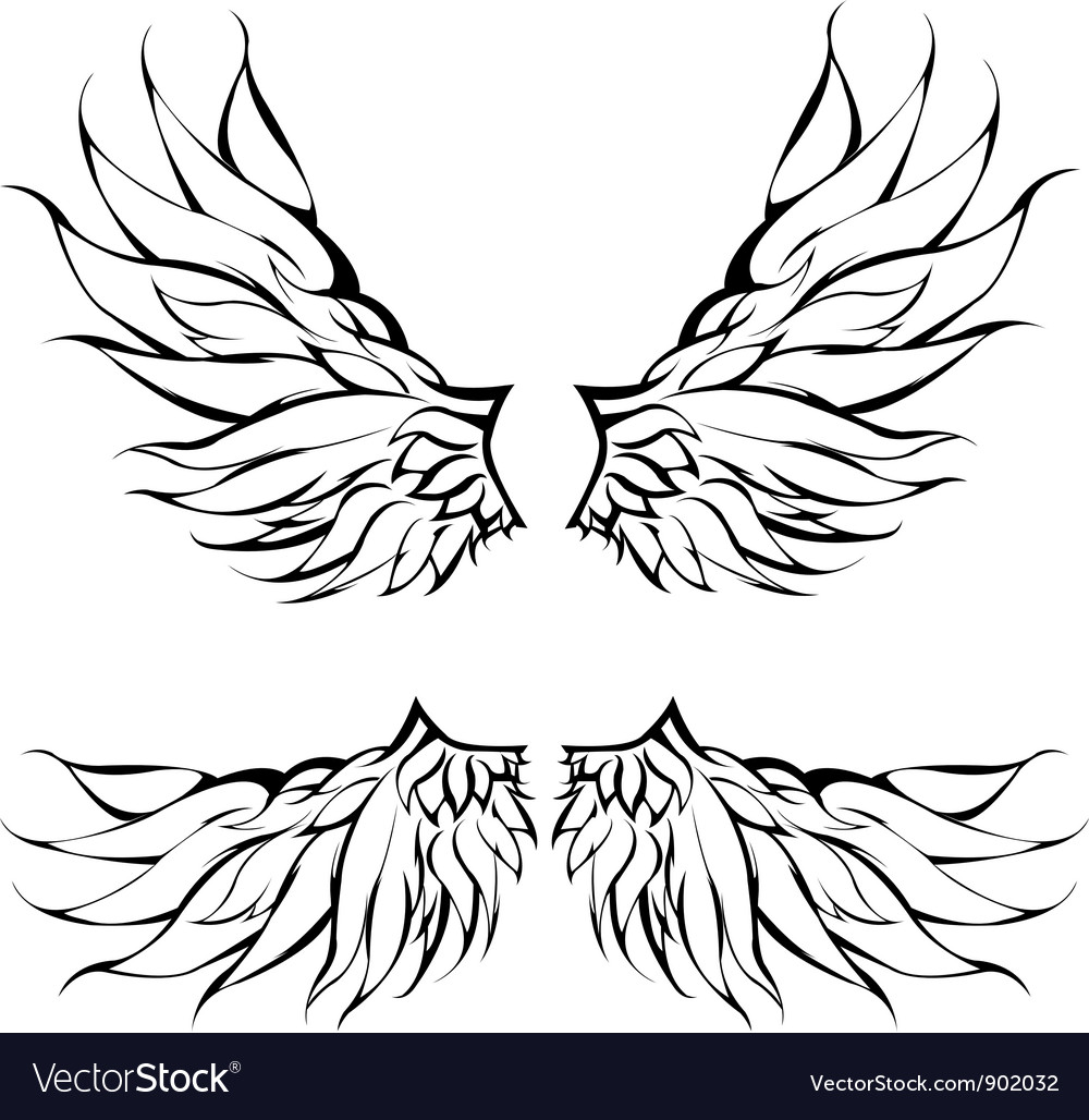 Tribal wings tattoo design vector | Price: 1 Credit (USD $1)