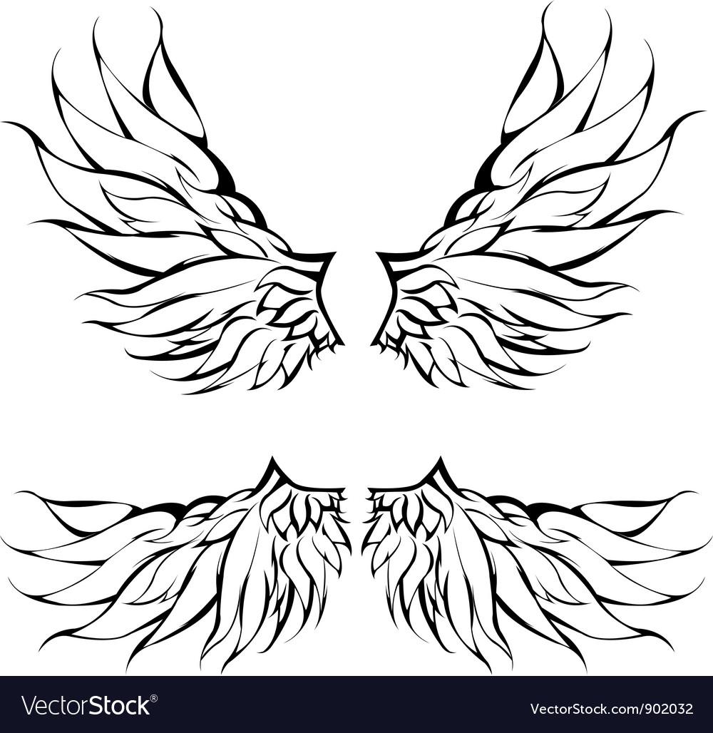 Tribal wings tattoo design vector | Price: 1 Credit (USD $1)
