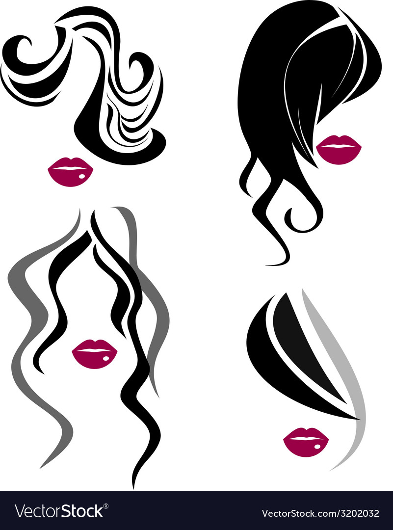 Woman face and hair icon vector | Price: 1 Credit (USD $1)