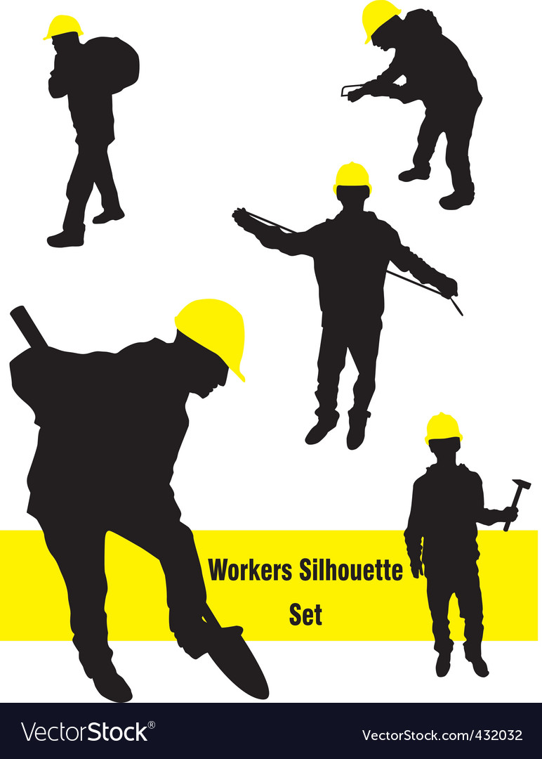 Workers silhouette set vector | Price: 1 Credit (USD $1)