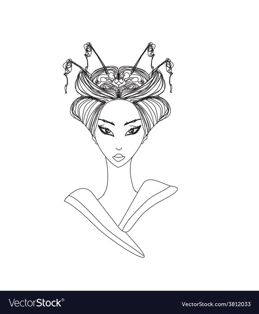 Abstract beautiful geisha doodle portrait vector
