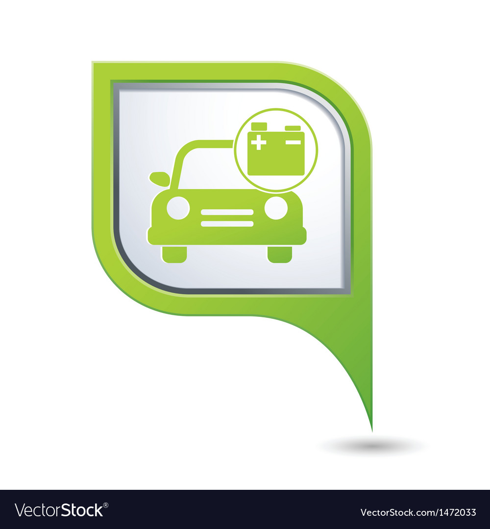 Car with accumulator icon on green pointer vector | Price: 1 Credit (USD $1)
