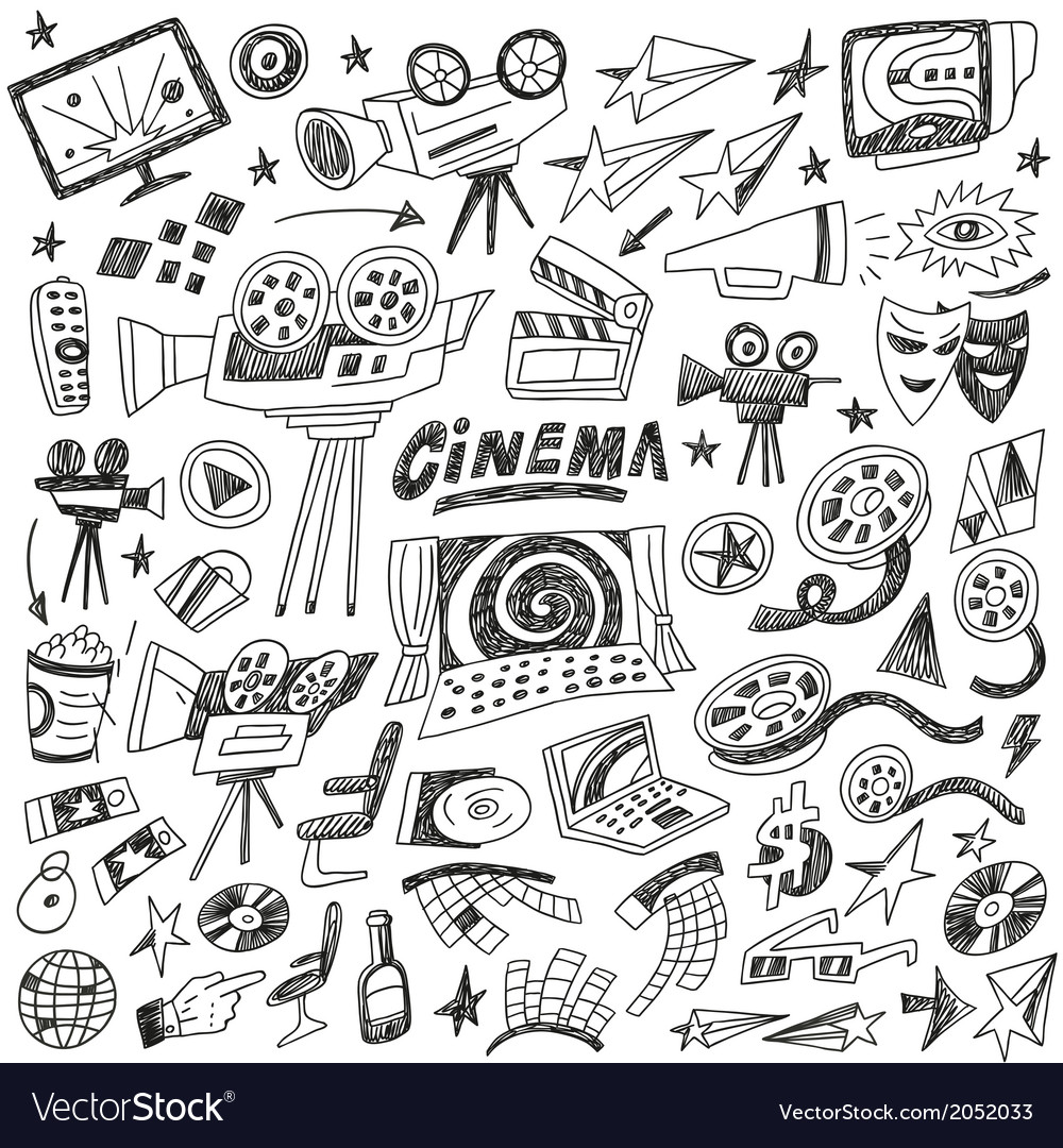 Cinema doodles vector | Price: 1 Credit (USD $1)