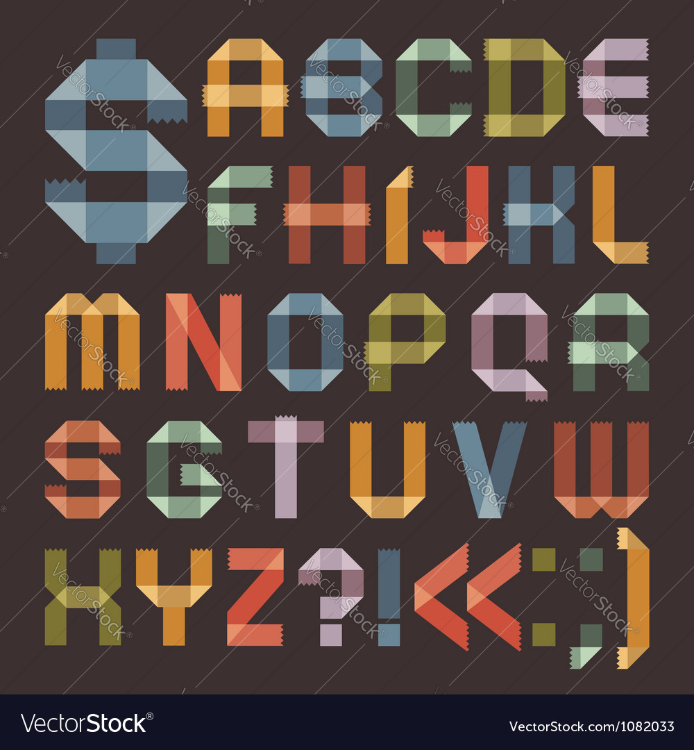 Font from colored scotch tape - roman alphabet vector | Price: 1 Credit (USD $1)