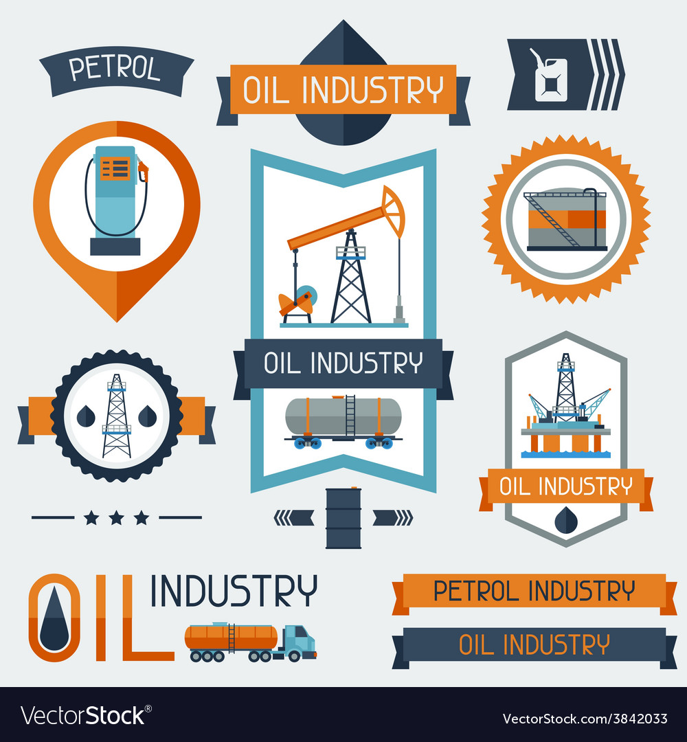 Industrial badges labels with oil and petrol icons vector | Price: 1 Credit (USD $1)