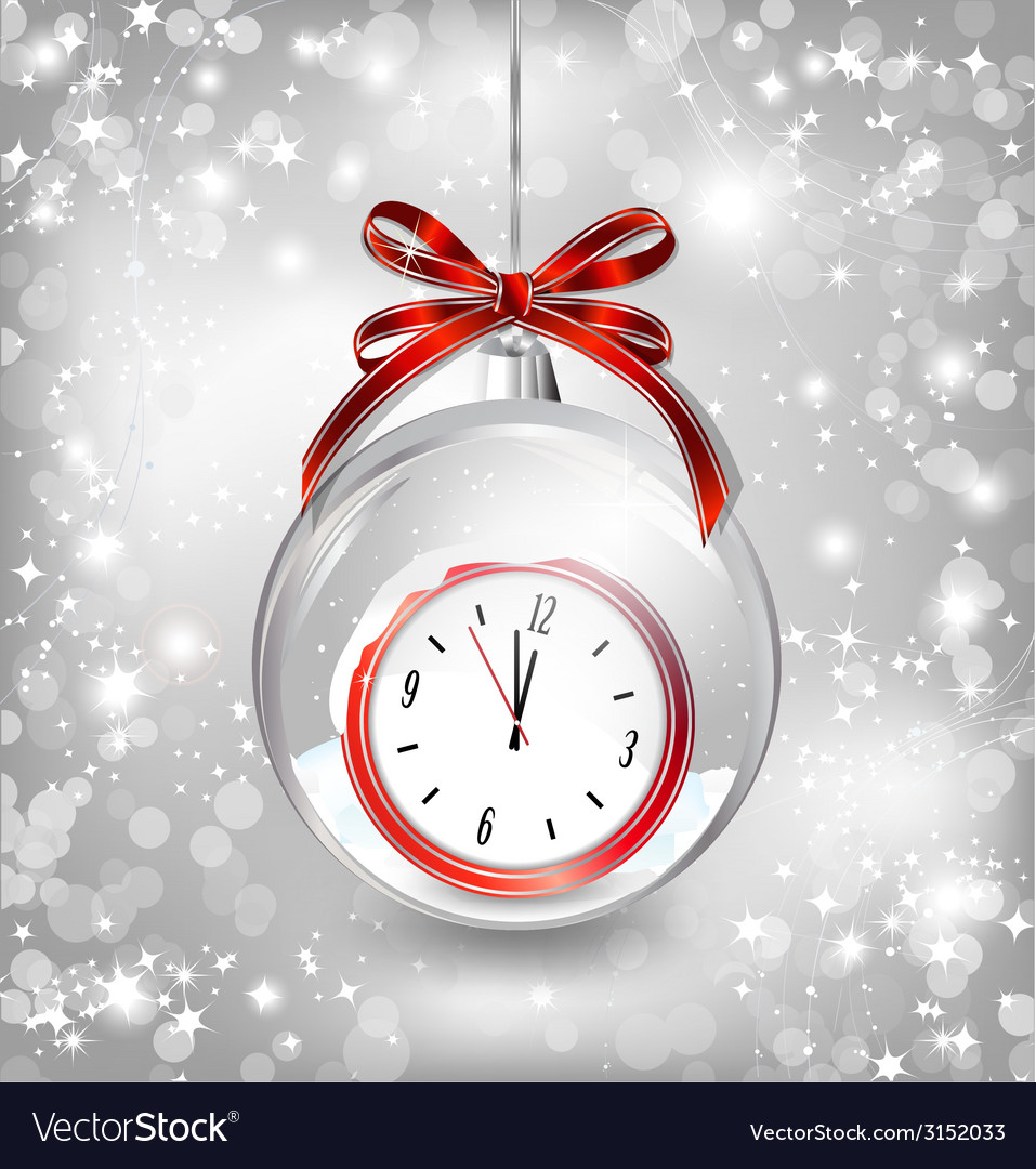 Luxury background with new year clock in christmas vector | Price: 1 Credit (USD $1)