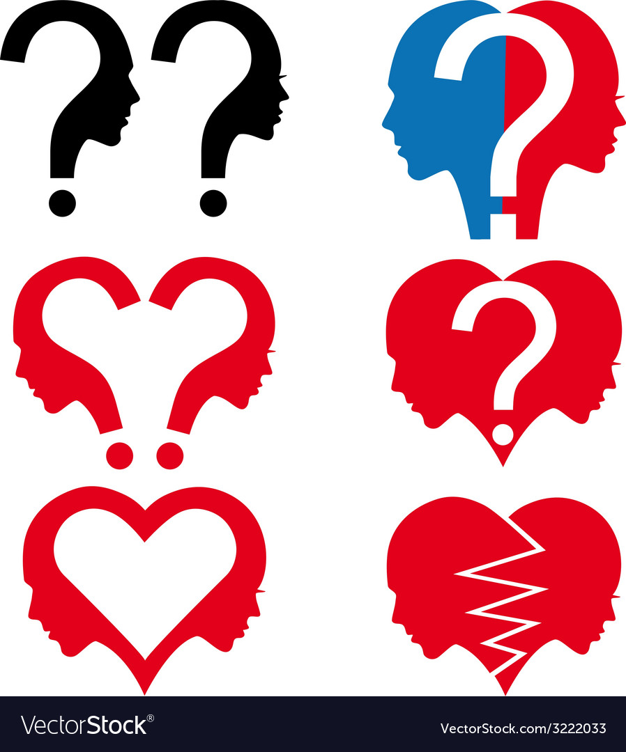 Man and woman with question mark set vector | Price: 1 Credit (USD $1)