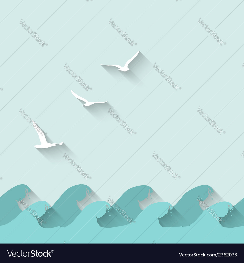 Marine background with waves and birds vector | Price: 1 Credit (USD $1)