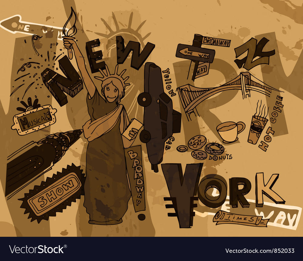New york doodles with grunge background vector | Price: 1 Credit (USD $1)