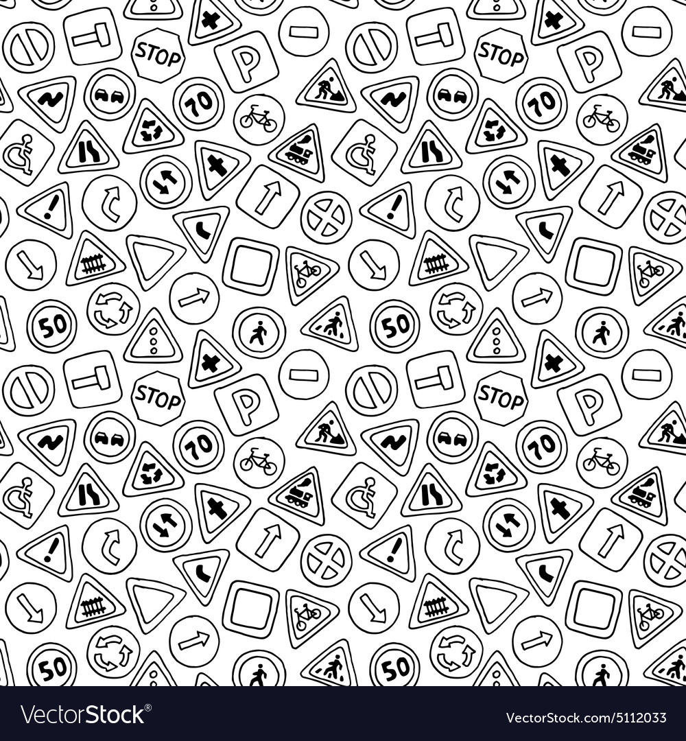 Seamless pattern of road signs vector