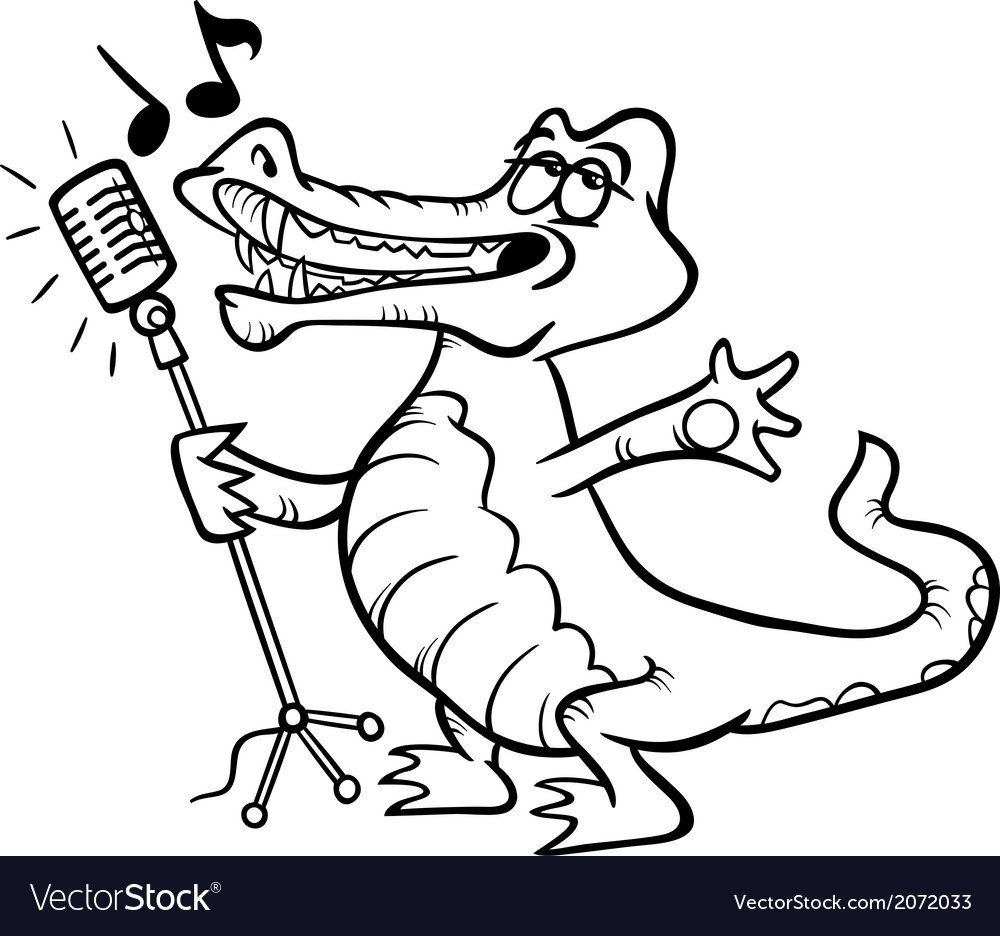 Singing crocodile coloring page vector | Price: 1 Credit (USD $1)