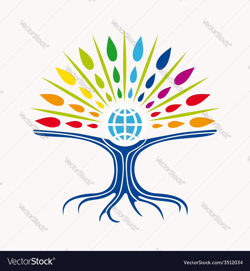 Community manager education world tree concept vector | Price: 1 Credit (USD $1)