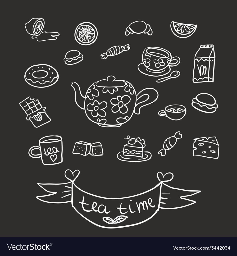 Doodle tea party vector | Price: 1 Credit (USD $1)