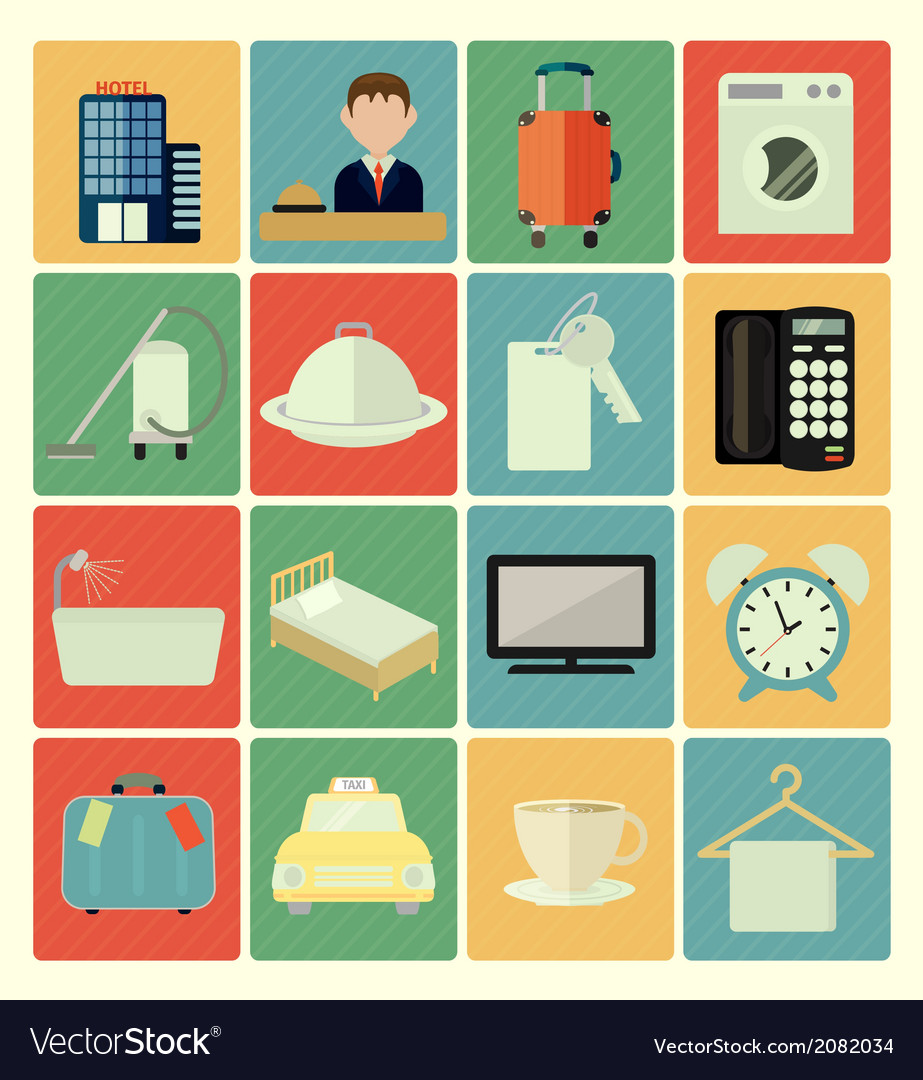 Flat icons hotel vector | Price: 1 Credit (USD $1)