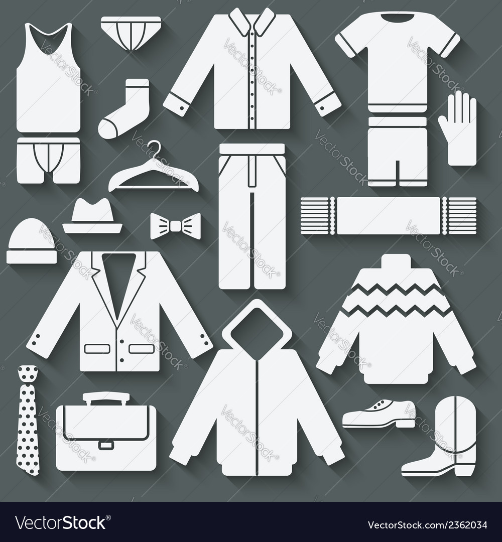Menswear icons set vector