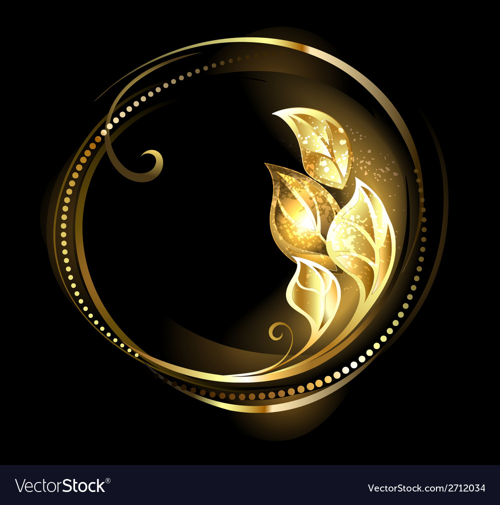 Round banner with golden leaves vector | Price: 1 Credit (USD $1)