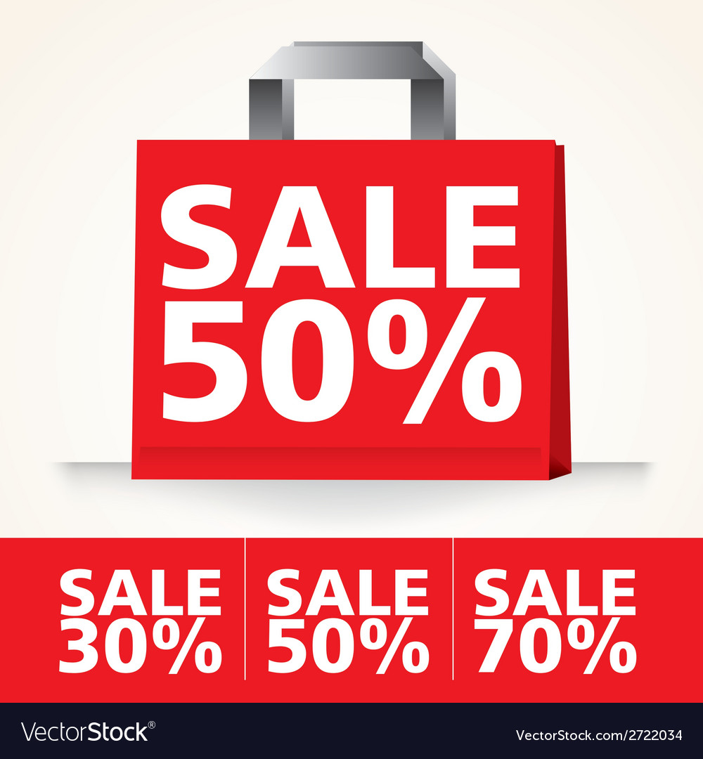 Sale shopping paper red bag set vector | Price: 1 Credit (USD $1)