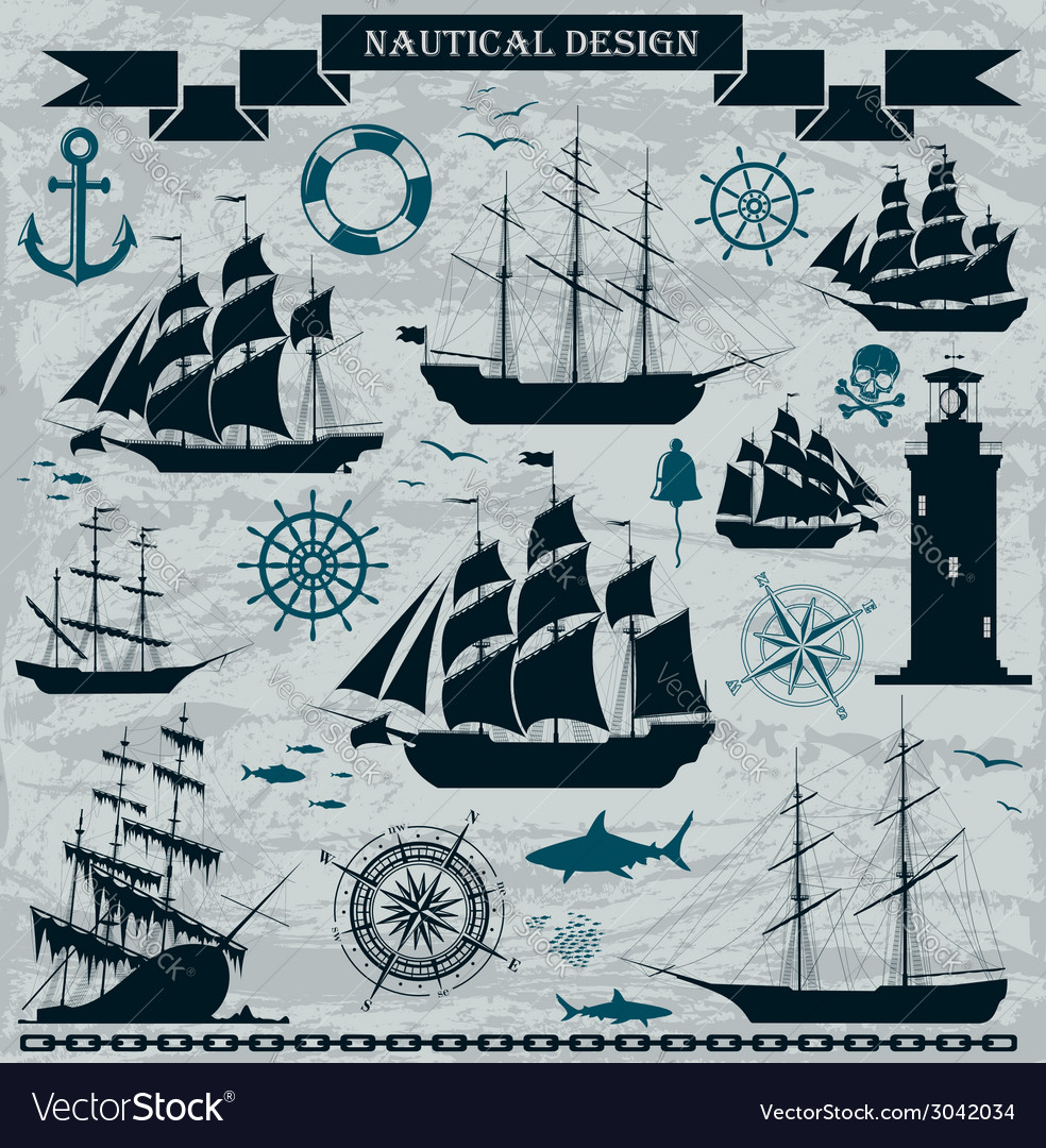 Set of sailing ships with nautical design elements vector | Price: 1 Credit (USD $1)