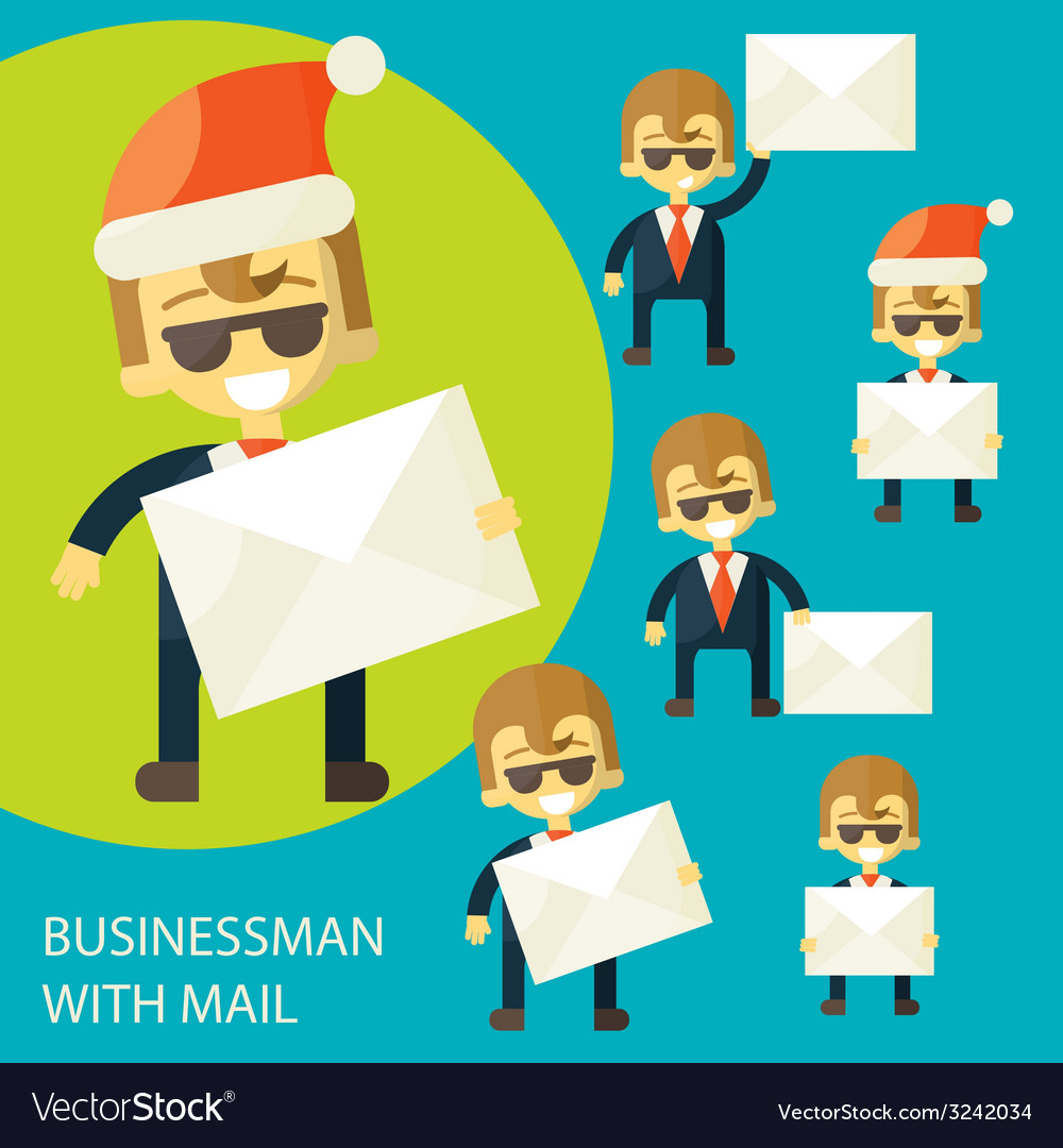Successful businessman and a letter vector | Price: 1 Credit (USD $1)