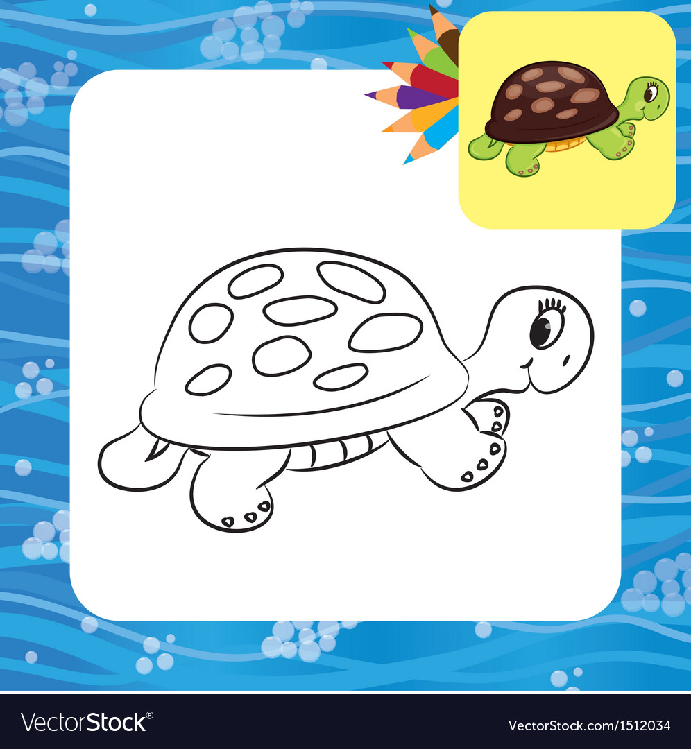 Turtle coloring page vector | Price: 1 Credit (USD $1)