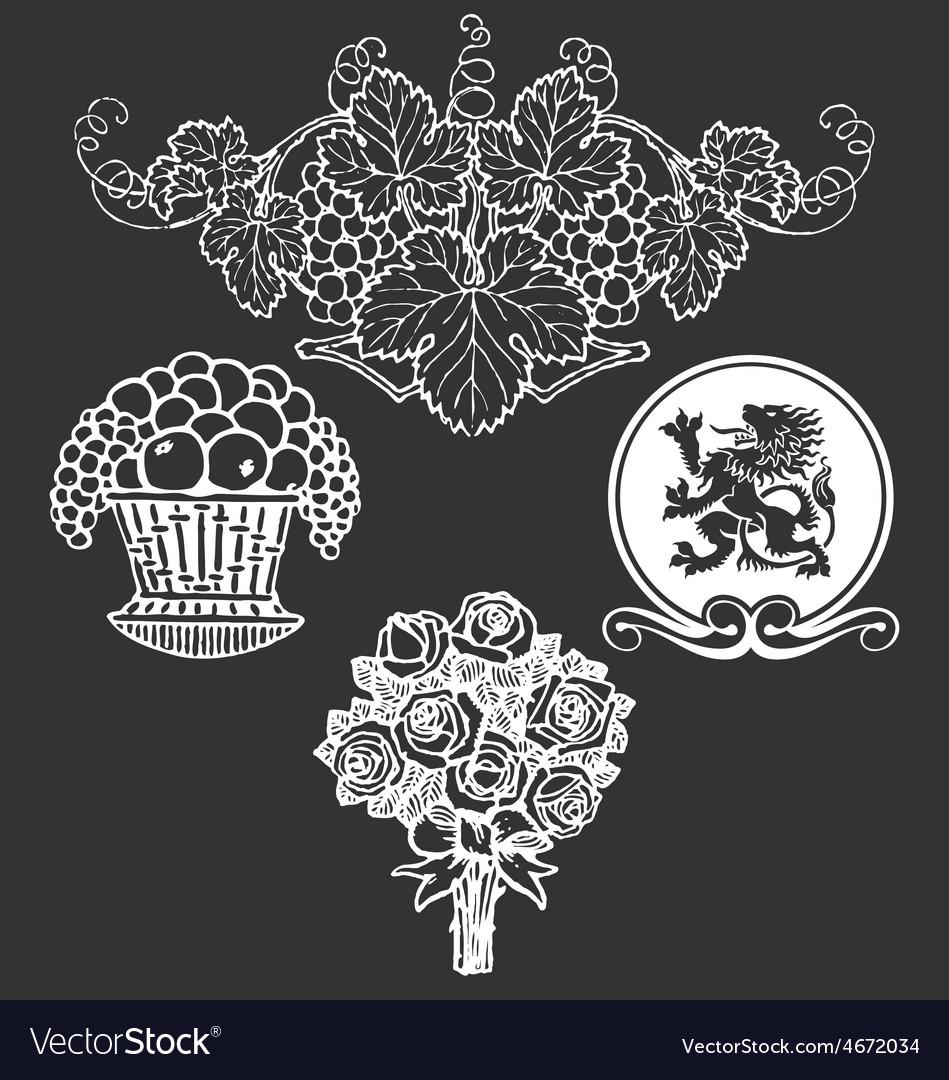 Vintage floral decorative design elements vector | Price: 1 Credit (USD $1)