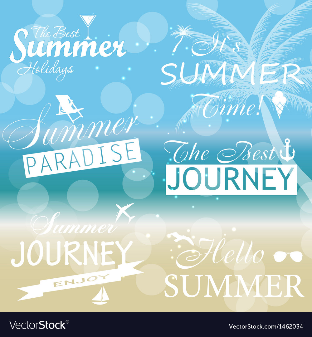 Vintage summer calligraphic elements design labels vector | Price: 1 Credit (USD $1)
