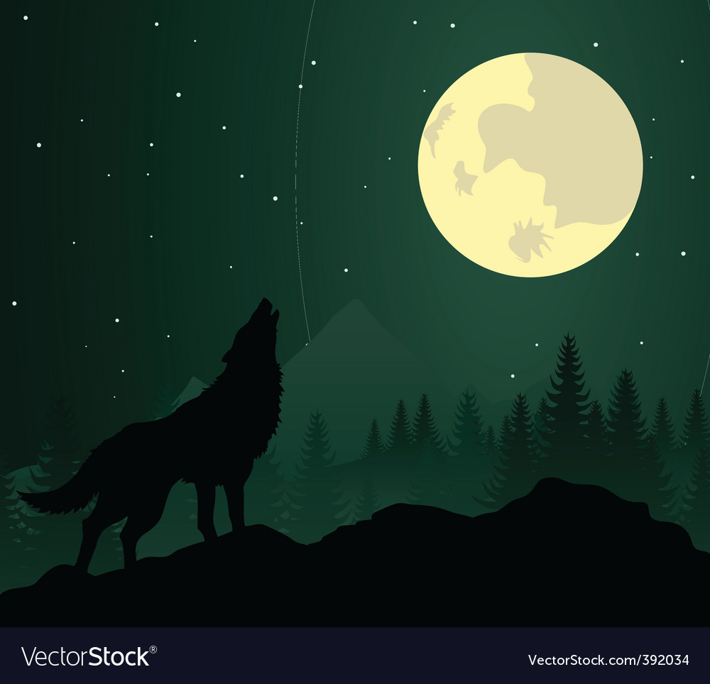 Wolf silhouette vector | Price: 1 Credit (USD $1)