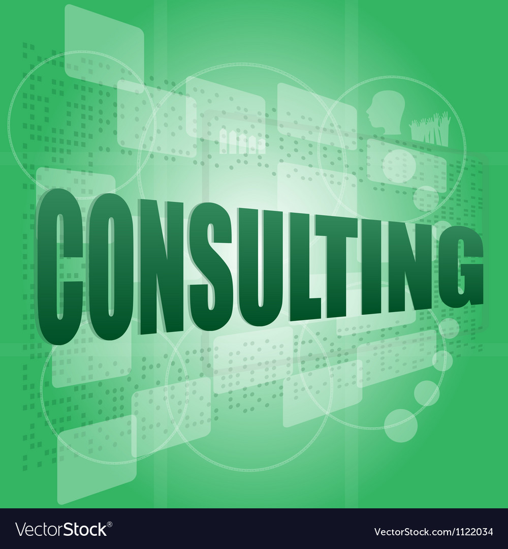 Words consulting on digital screen business vector | Price: 1 Credit (USD $1)