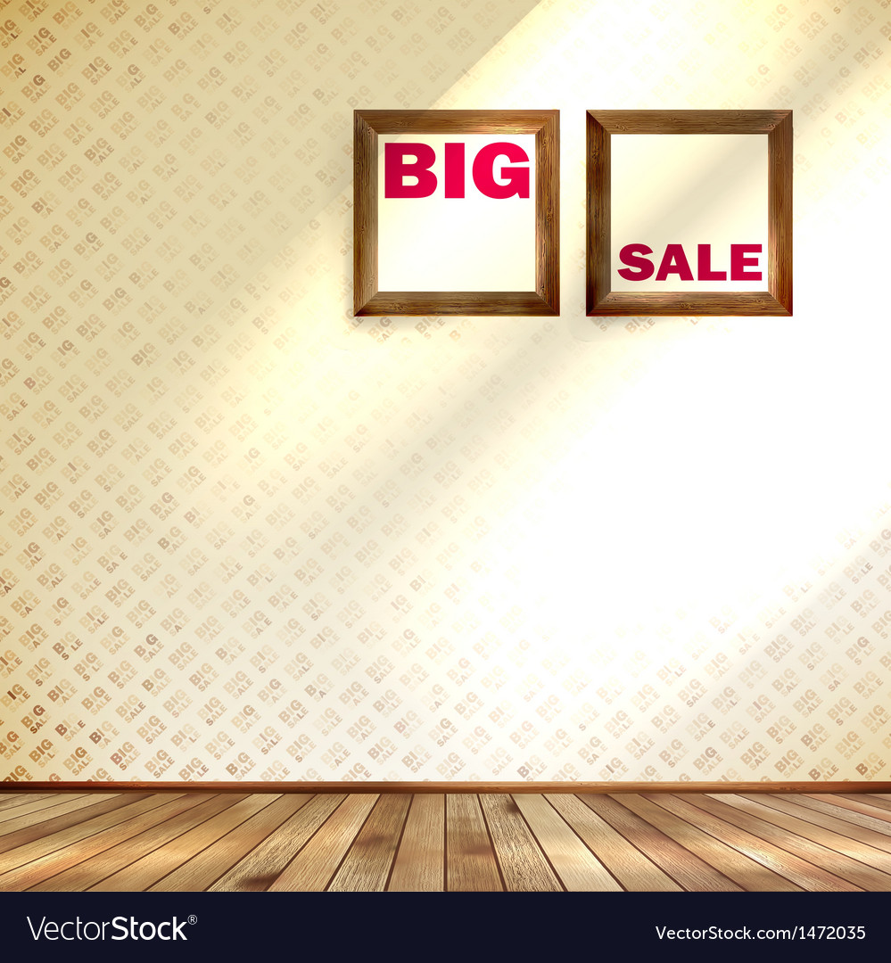 Beige wall wooden floor with big sale frame vector | Price: 1 Credit (USD $1)