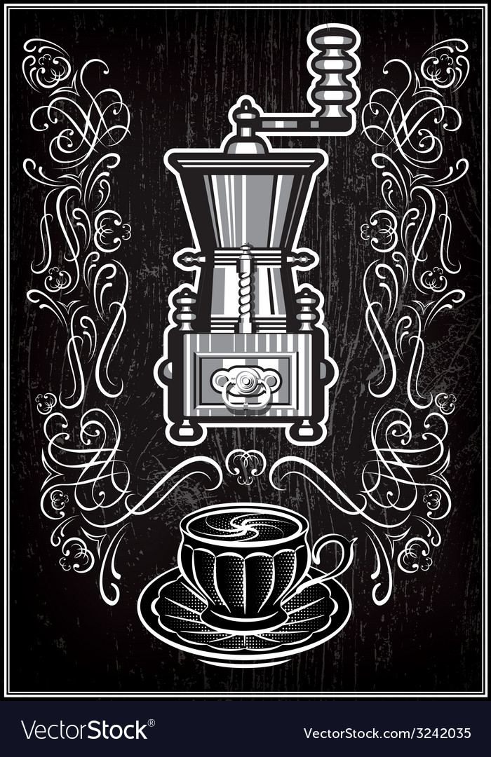 Coffee grinder with ornament and inscription vector | Price: 1 Credit (USD $1)