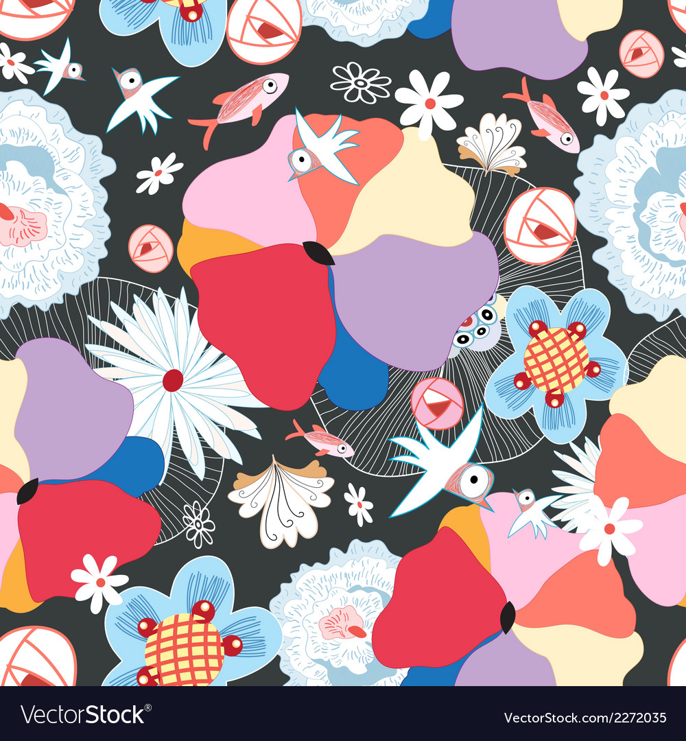 Floral pattern with birds vector | Price: 1 Credit (USD $1)