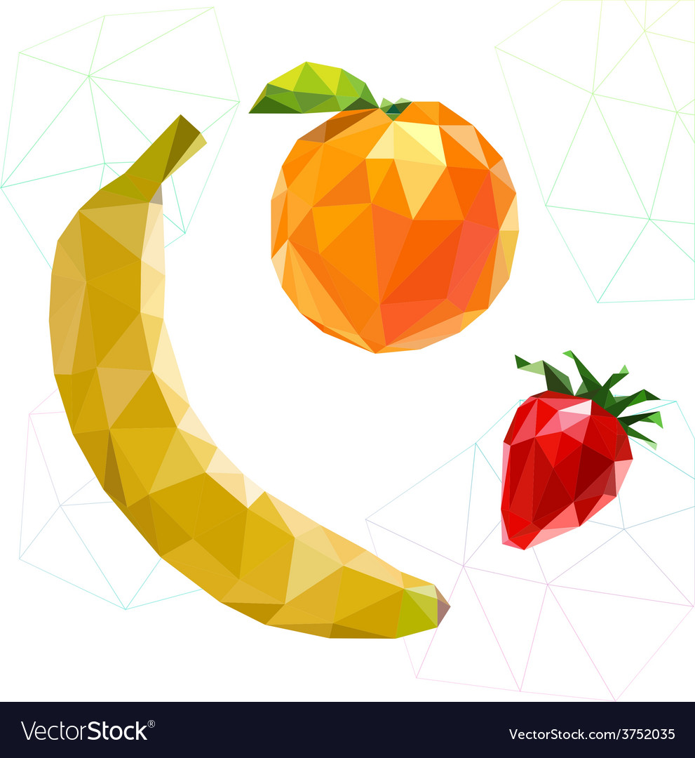 Fruit set of polygons banana orange strawberry vector | Price: 1 Credit (USD $1)