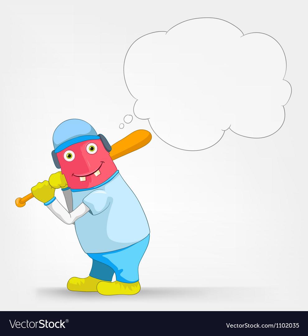 Funny monster baseball vector
