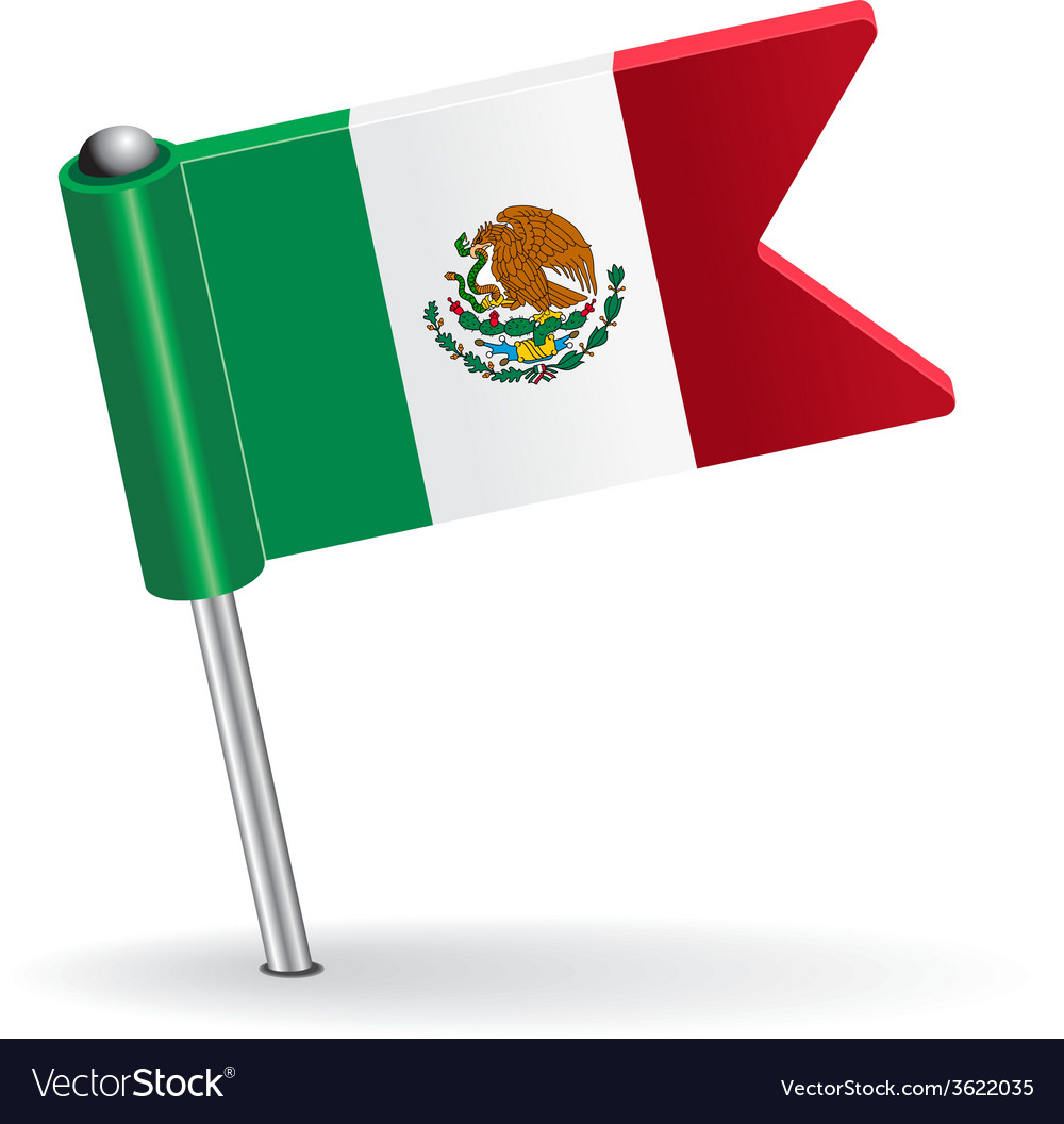 Mexico pin icon flag vector | Price: 1 Credit (USD $1)