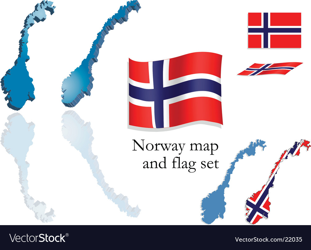 Norway map and flag set vector | Price: 1 Credit (USD $1)
